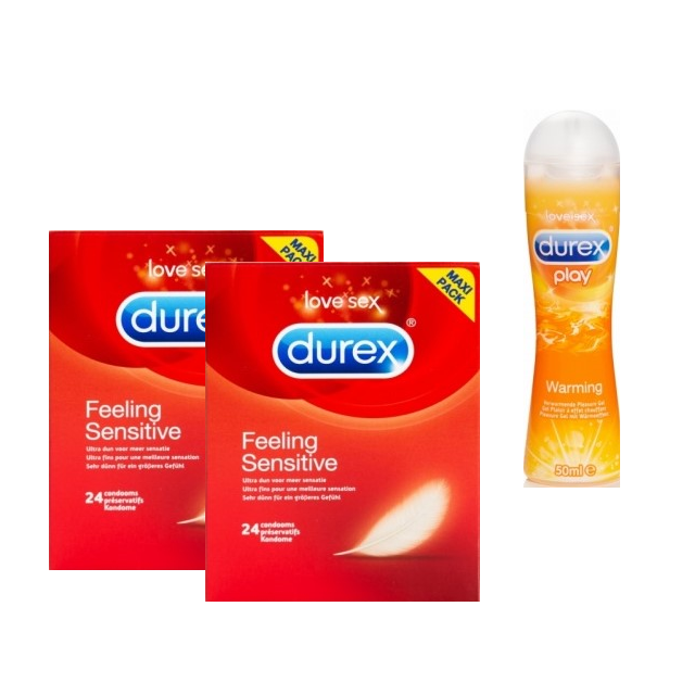 Durex Feeling Sensitive condooms Maxi Pack (2 x 24st + GRATIS warming gel)